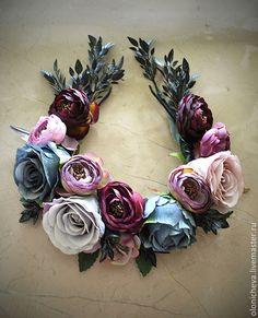 Венок из цветов на голову «Мистика». Handmade.