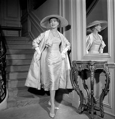 1954 Model in silk shantung dress and matching coat by Jacques Fath