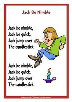 TODDLER Language- 4.5.C About Me- My Name- Jack Be Nimble.   Jack Be Nimble Nursery Rhymes