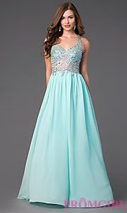 Buy Floor Length Prom Dress with Beaded Top at PromGirl