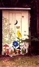 painted outhouse flowers cute