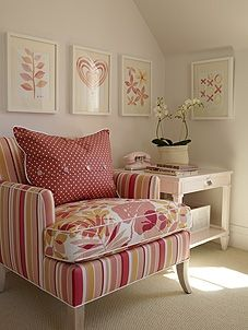 Girl's Room | Sarah Richardson Design - like the use of different fabrics