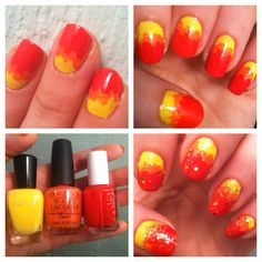 """Hunger Games """"Girl on Fire"""" mani with gold glitter."""