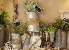 Love all the galvanized with burlap labels