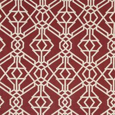 Robert Allen Rajouri in Vermillion Robert Allen Fabric, Geometric Fabric, Beacon Hill, Fabric Samples, Red And White, Upholstery, Textiles, Kids Rugs, Pattern