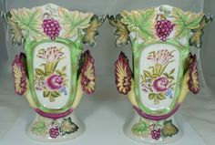 OLD PARIS ANTIQUE STYLE VASE W/ CHINESE LOTUS,ROSE FLOWER,GRAPES,LEAVES PAIR