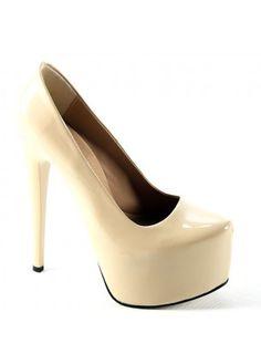 Krem Rugan Yüksek Topuklu Ayakkabı