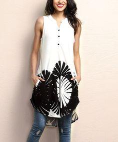 Look at this #zulilyfind! White & Black Floral Sleeveless Button-Front Tunic #zulilyfinds