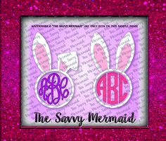 Easter Bunny Girls Monogram Frame - SVG file - Silhouette Cameo or Cricut - Easter Shirt Designs.  Use with Silhouette or Cricut or as a Printable Iron On Design!  Svg Eps Dxf Png Jpg
