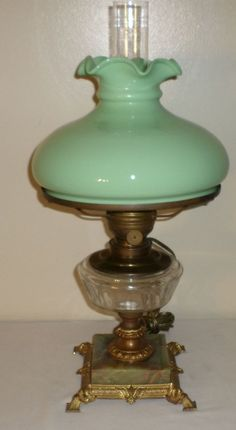 Art Nouveau Foreign GWTW Parlor Oil Lamp Marble Beauty Rolled Top Jadeite Shade