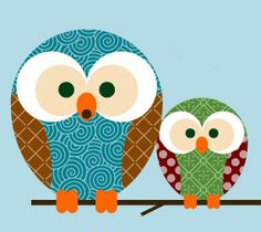 Love these colors and the style.  I think I want to do the kids bathroom in these kinds of owls.
