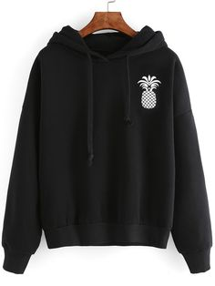 Black Pineapple Print Drop Shoulder Hooded Sweatshirt