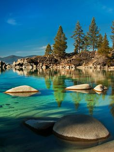 Lake Tahoe, Sierra Nevada, United States. We went to Kings beach. The water was so clear you could see 30ft down with perfect clarity.