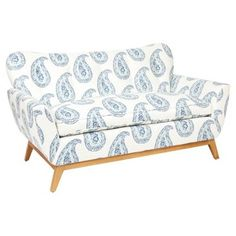 """Check out this item at One Kings Lane! Evelyn 60"""" Paisley Love Seat, Blue"""