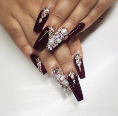 maroon / burgundy with crystals coffin nails