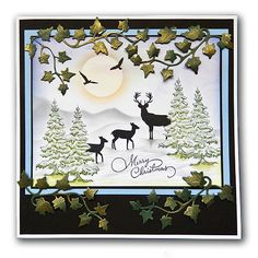 Hello there my crafty friends, Inkylicious have had two fabulous shows with amazing demos by Deby and Emma on Hochanda today at and Stamped Christmas Cards, Christmas Paper Crafts, Christmas Cards To Make, Xmas Cards, Handmade Christmas, Holiday Cards, Christmas Tables, Christmas Deer, Merry Christmas