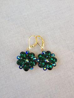 Emerald green rhinestone earrings gold by ChicMaddiesBoutique