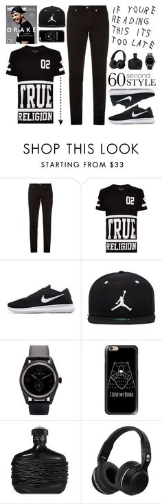 """""""If You're Reading This It's Too Late"""" by mockingjayafire ❤ liked on Polyvore featuring McQ by Alexander McQueen, True Religion, NIKE, Jordan Brand, Drakes London, Bell & Ross, Too Late, Casetify, John Varvatos and Skullcandy"""
