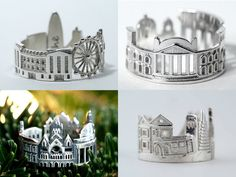 North Carolina-based goldsmith Ola Shekhtman designs these fun skyline rings that wrap entire cityscapes around your finger. So far she's managed to encapsulate the architectural highlights of over a dozen cities including Paris, San Francisco, Amsterdam, Stockholm, Berlin, Hong Kong and ma