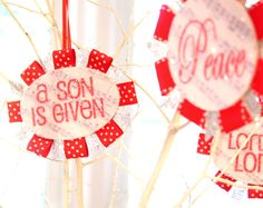 Mod pudge wood and ribbon ornaments