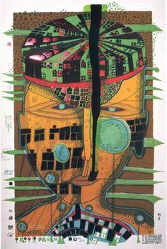 748 One of Five Seamen, Silkscreen by Friedensreich Hundertwasser Austria) Friedensreich Hundertwasser, Norman Rockwell, Wild Baby Rabbits, Rabbit Baby, Modern Art, Contemporary Art, Art Ancien, Art Brut, Wow Art