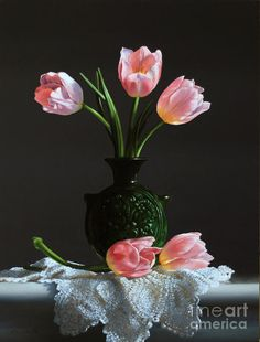 Pink Tulips In A Water Jug Painting
