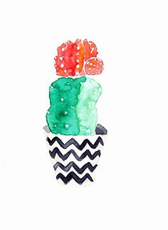 CACTUS SUCCULENT PLANT with flower Original watercolor painting by Mydrops on Etsy https://www.etsy.com/listing/208689370/cactus-succulent-plant-with-flower