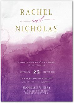 Excellent Watermark - Signature White Wedding Invitations in Stormy Blue or Dusty Rose | Lady Jae