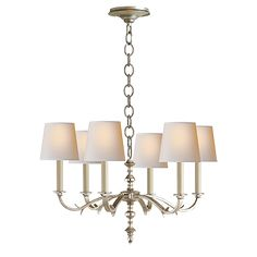 Channing small chandelier in burnished silver leaf with natural paper shades TOB 5119BSL-NP $2,310