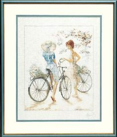Girls with Bicycles by Lanarte - Cross Stitch Kits & Patterns
