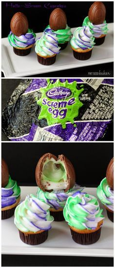 Pint Sized Baker: Fun and Easy Cadbury Screme Egg Cupcakes. Learn how to make the colored swirl! It's so easy!