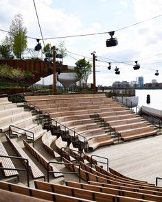 The 2.4-acre park has three stages for live theatre performances, including an amphitheatre of wooden benches facing the river. There are 500 events scheduled for the park between June and September this year. Diller said he hopes that Little Island can also become a nightclub, and has applied for a liquor licence. Thomas Heatherwick, Little Island, Parking Design, Dezeen, Outdoor Spaces, Design Projects, Outdoor Gardens, Acre, Skyscraper
