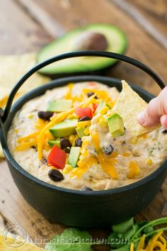 Southwest Hot Chicken Dip (Extra Cheesy)-This Southwest hot chicken dip is cheesy, loaded with corn, black beans, and has just the right amount of heat from the jalapeños. Enjoy one pot recipe! Can Chicken Recipes, Chicken Dips, Canned Chicken, Mexican Food Recipes, Fiesta Chicken, Canned Meat, Shredded Chicken, Rotisserie Chicken, Yummy Appetizers