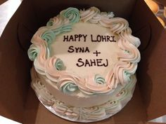 Lohri cake in Pacheco and mint green buttercream. Halal-friendly recipe. Nut-free bakery White Rock BC