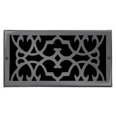 "This dark bronze finish solid brass air return vent cover with a victorian scroll design fits 6"" x 12"" duct openings and adds the perfect accent to your home decor."