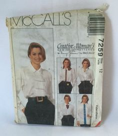 McCalls 7259 Sewing Pattern Blouse Top Creative Womens 12 New Uncut Vintage 1990s Fashion Accessories