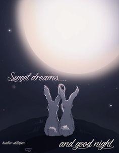 Bunny Art  Sweet Dreams and Good Night  by RoseHillDesignStudio