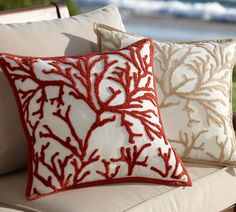 Branch Coral Embroidered Outdoor Pillow | Pottery Barn