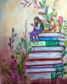 "Gefällt 2 Mal, 1 Kommentare - Ellen (@hsieh_ellen) auf Instagram: ""#forestgirlscoloringbook #foresgirl #pencilart #pencilcolor #pencilcolors #pencilcoloring…"" Adult Coloring, Coloring Books, Forest Girl, Reading Art, Girls Characters, Book Girl, Vintage Ephemera, Color Inspiration, Japan"