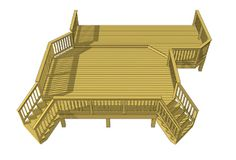 Over 420 sf deck plan thats set along the house.  Download this and any one of our deck plans for free.