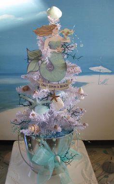 Mermaid Seashell Christmas Tree-Coastal Beach Decor