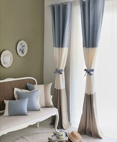 Village Country Multi-color Cotton Blend Cute Eco-friendly Curtains (Two Panels)