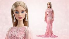 blush fringed gown platinum barbie