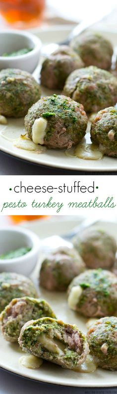Exploding with gooey mozzarella cheese and super-moist from the pesto, these flavorful turkey meatballs are a weeknight dinner dream! @WholeHeavenly