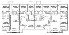 Apartment Layout, One Bedroom Apartment, Apartment Living, Duplex Floor Plans, Apartment Floor Plans, Two Bedroom Floor Plan, Family Units, Multi Family Homes, Unit Plan