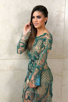 Fabiana Milazzo Green Embroidery Dress