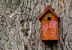 Outdoor Redwood/cedar Birdhouse / Nesting Box - Painted With Wisteria - Handmade…