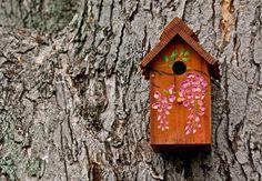 Outdoor Redwood/cedar Birdhouse / Nesting Box - Painted With Wisteria - Handmade…