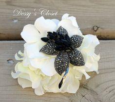 15% OFF Black Rhinestone Flower Brooch Measuring 3 by DessysCloset