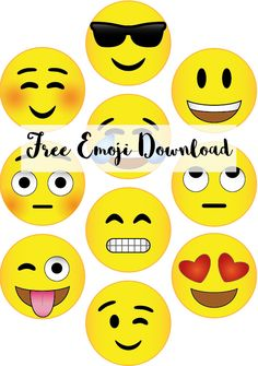 Free Emoji Download for use in a photobooth, cupcake toppers and so much more // Pure Sweet Joy